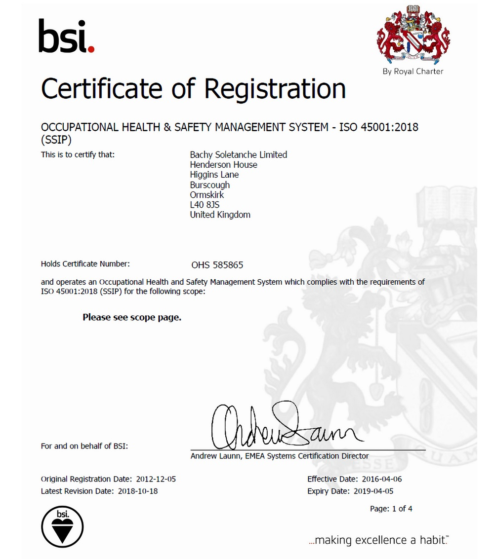 Insights - Bachy Soletanche Achieve International Safety Certification - BSI ISO45001