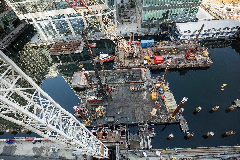 Foundations Solution - Bridge On Water Street Canary Wharf - Marine LDA Piling minipiling (1)