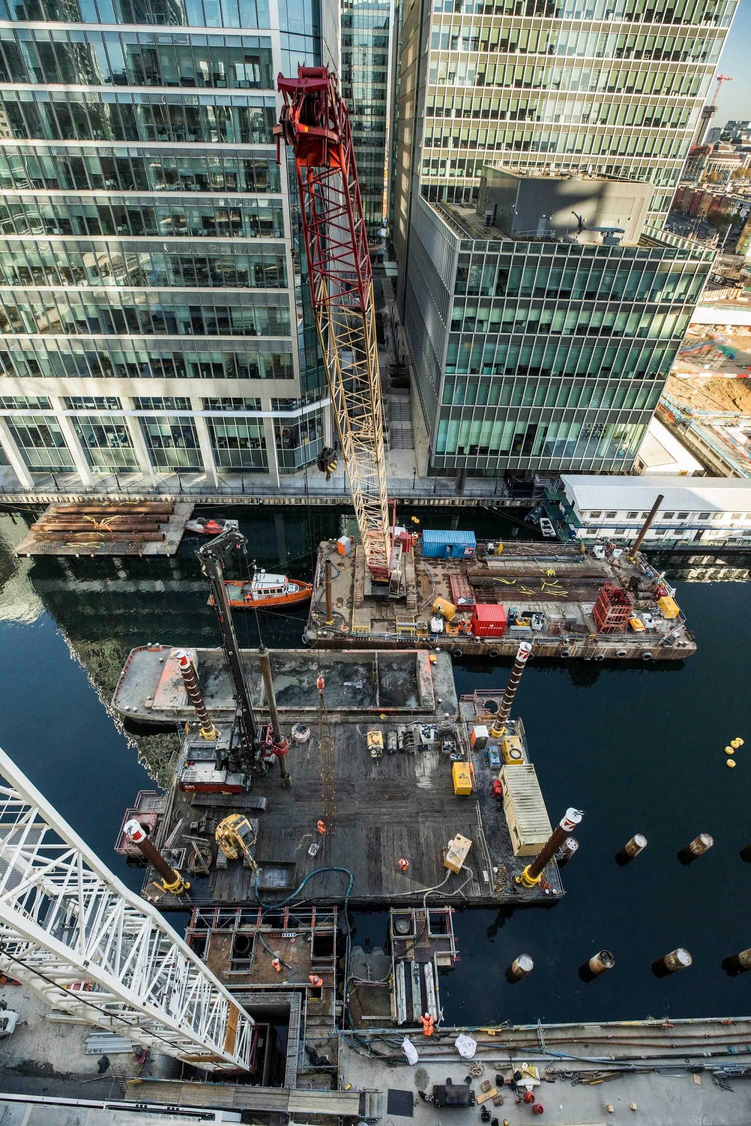 Foundations Solution - Bridge On Water Street Canary Wharf - Marine LDA Piling minipiling (4)