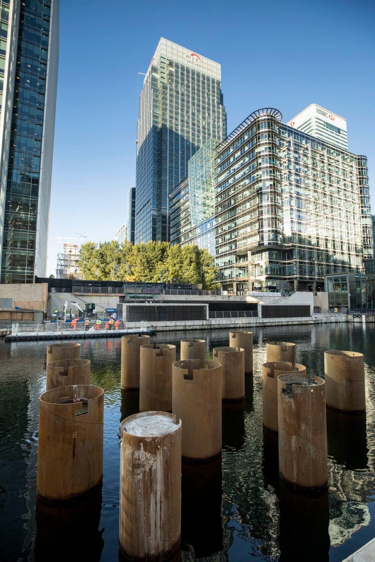 Foundations Solution - Bridge On Water Street Canary Wharf - Marine LDA Piling minipiling (7)