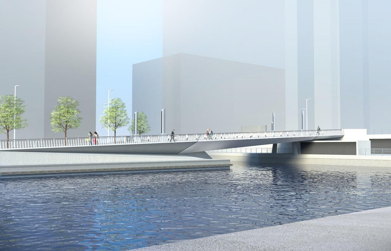 Foundations Solution - Bridge On Water Street Canary Wharf - Marine LDA Piling minipiling (CGI)
