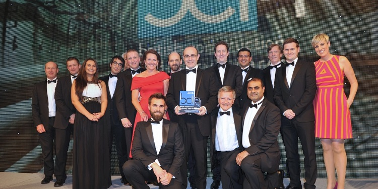 British Construction Industry Awards - Lee Tunnel JV team wins three awards, group photo with award in 2016